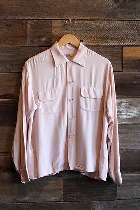 '50s Pastel Pink Gabardine Loop Collar Shirt | Men's L