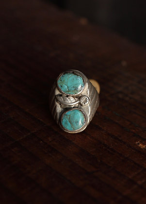Vintage Men's Double Stone Turquoise Ring - 9 1/2