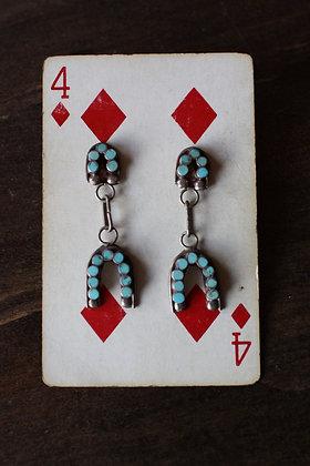 Sterling Silver & Turquoise Horseshoe Earrings