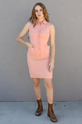 '50s/'60s Salmon Sleeveless Wiggle Dress   X-Small