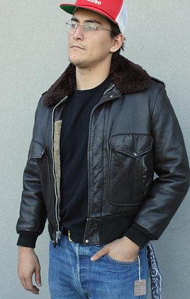 '60s/'70s Leather Bomber Jacket | Men's Medium