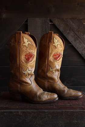 '70s Acme Floral Inlay Cowgirl Boots - 6.5