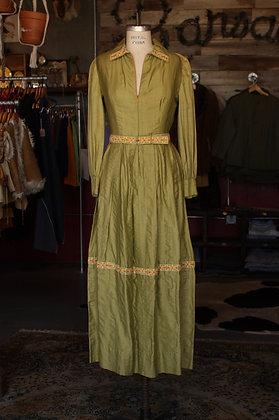 '60s Handmade Olive Boho Dress - Medium