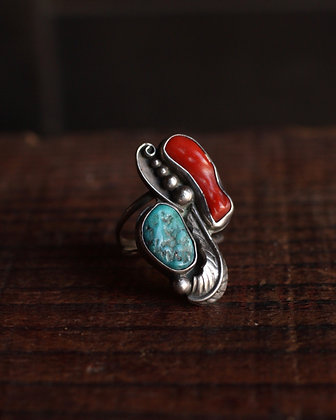 Navajo Turquoise & Coral Ring - 5 1/2
