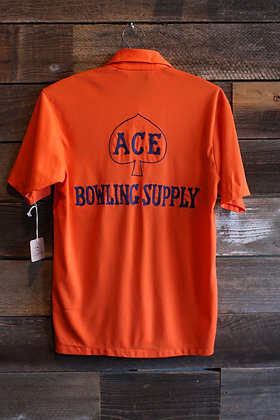 '70s Orange Poly Chainstitch Bowling Jersey   Men's Small
