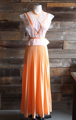 '70s Peach Sleeveless Maxi Dress | S