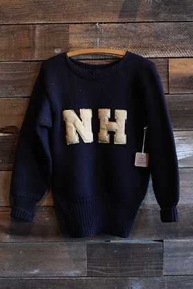 '30s Navy Blue Knit 'NH' Letterman Sweater | Men's Small