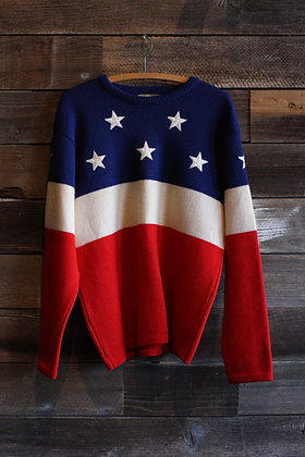 Vintage American Flag Wool Knit Sweater | Men's Medium