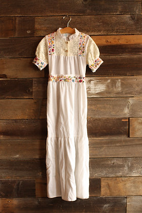 '70s White Embroidered Maxi Dress - Kid's 8