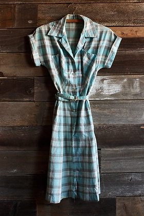 '50s Blue Plaid House Dress - Medium
