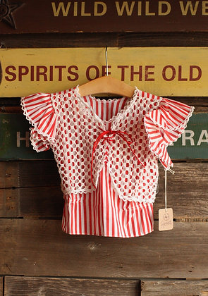 Vintage Red & White Candy Striped Top - Kid's 8