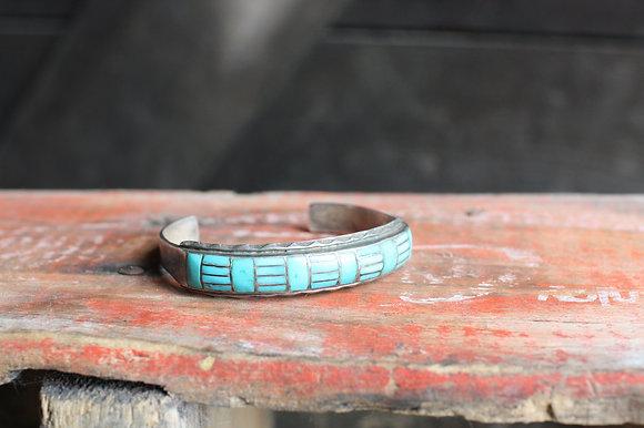 Vintage Turquoise Inlaid Cuff