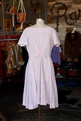 '50s/'60s Blush Pink Eyelet Lace Cotton Dress - XL
