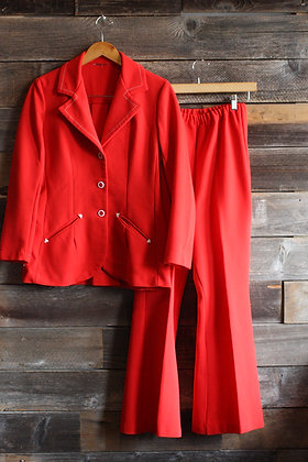 '70s Red Polyester 2 Piece Western Suit | Women's M/L