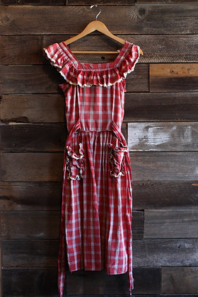 '40s Red Gingham Dress   X-Small