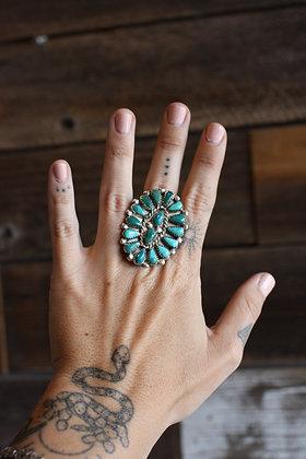 Vintage Zuni Turquoise Cluster Ring   9