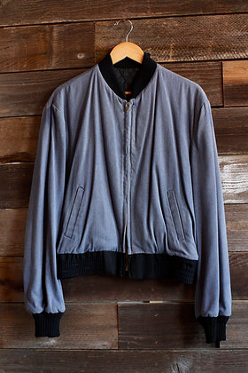'50s Grey Gabardine Quilt Lined Bomber Jacket | Medium