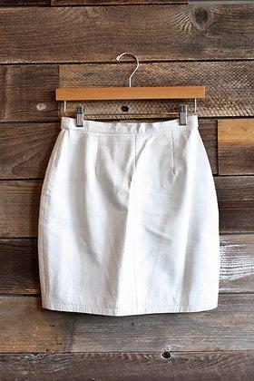 '80s White Leather Mini Skirt | S