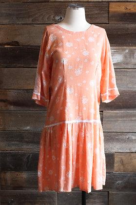 Vintage Tangerine Micro Gingham Drop Waist Dress | M/L
