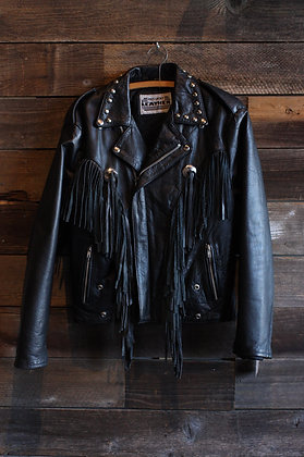 '80s Studded Black Leather Fringe Moto Jacket | Men's Medium