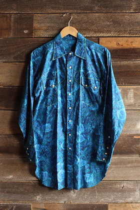 '60s Slim Fit Blue Sawtooth Pearl Snap - Men's Medium