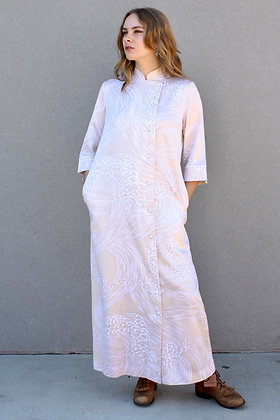 '70s Oriental Style Wave Motif Dress   Small-Large