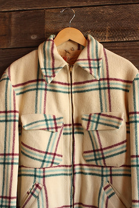 '50s Wool Plaid Coat | Large