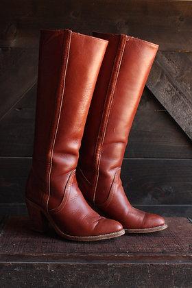 '70s Frye Chestnut Heeled Boots - 6