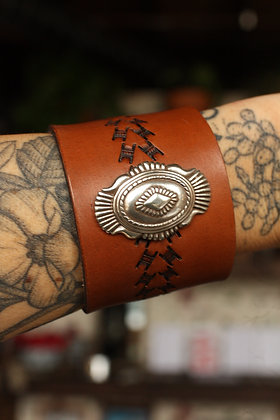 Hags & Hides Handcrafted Leather Concho Cuff