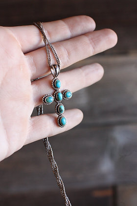 Vintage Sterling & Turquoise Cross Pendant Necklace