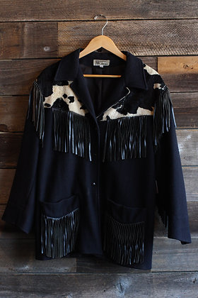 '80s Faux Cowhide Fringe Jacket | Men's M/Women's XL