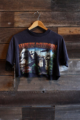 '80s Harley Davidson Cropped Mt. Rushmore Tee - Women's Medium/Large