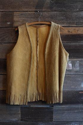 '60s Handmade Suede Fringe Vest | Mens M/ Women's L