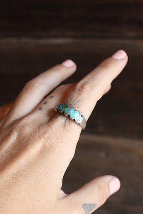 Vintage Turquoise Inlay Band Ring | 8