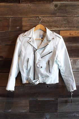 '70s White Talon Zip Leather Moto Jacket   Women's S