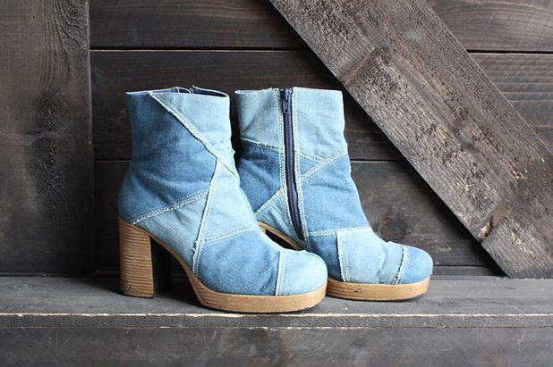 Vintage Denim Platform Boots