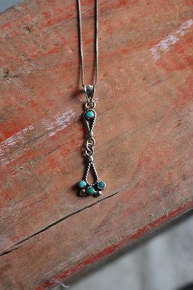 Vintage Zuni Drop Pendant Necklace