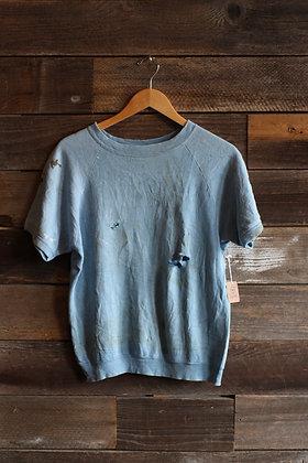 '70s Thrashed Pale Blue Thrashed Short Sleeve Raglan Sweatshirt   Men's M