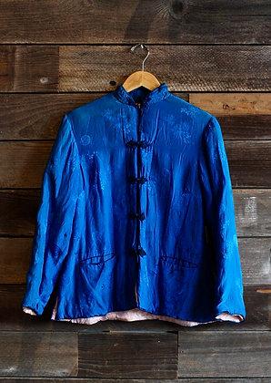 Vintage Blue Silk Bed Jacket | Medium