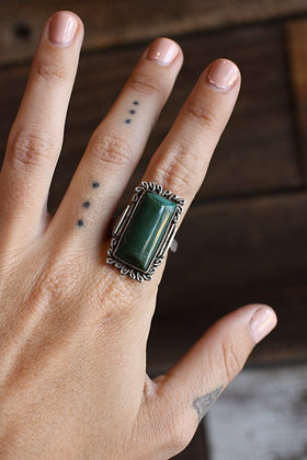 Vintage Green Agate Ring | 8