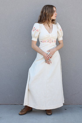 '70s Embroidered Linen Boho Dress   XS/S