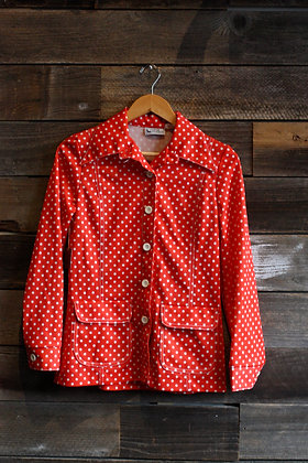'70s Red Polka Dot Poly Top | Women's S