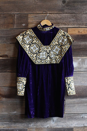 '60s Velour Renaissance Mini Dress | S
