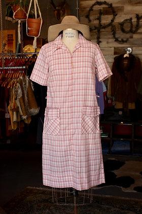 '60s Pink Plaid Zip House Dress - Small/Medium