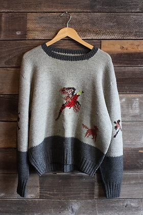 Vintage Hand Knit Pheasant Sweater - Men's Large / X-Large