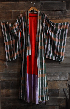 Vintage Green Full Length Kimono | One Size Fits Most