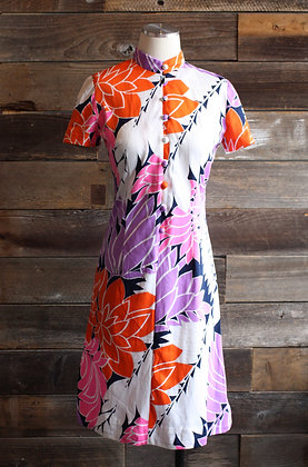 '70s Wilroy Colorful Floral Dress   S
