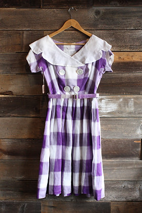 '60s Purple Picnic Dress | M