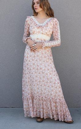 '60s/'70s Peach Prairie Dress | XS/S