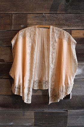'20s/'30s Peach Silk & Lace Bed Jacket Top | One Size Fits Most